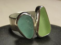 Sea Glass Ring in Tropical Ocean Colors by seaglassjewels on Etsy, $145.00