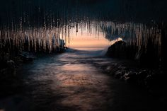 An ice cave at sunrise on Lake Superior, Cook County, Minnesota.