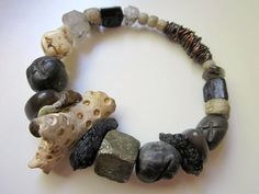Old Testament - primitive tribal fossilized coral, black tektite and tourmaline, polymer clay trade beads, & copper chunky bangle bracelet by LoveRoot, $51.00