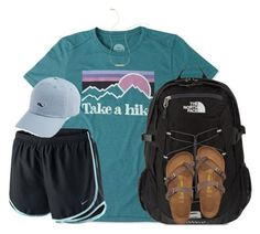 """take a hike"" by kaley-ii ❤ liked on Polyvore featuring Life is good, NIKE, The North Face, Birkenstock and Wish by Amanda Rose"