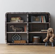distressed iron with industrial rivets + weathered grey wood shelves. montgomery iron bookcase. #rhbabyandchild