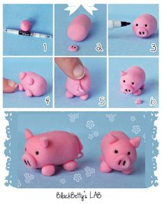 How to DIY Cute Fondant Animals - fimo - Animals Fondant Figures, Fondant Toppers, Fondant Cakes, Fondant Icing, 3d Cakes, Mini Cakes, Decors Pate A Sucre, Farm Cake, Polymer Clay Animals