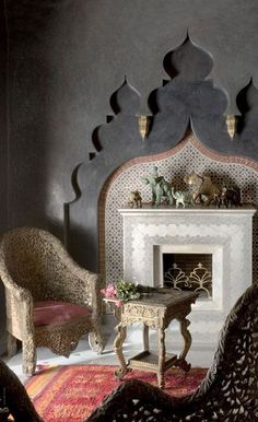 Incredible wall with tadelakt plaster arches and fireplace niche. Ive seen a lot of beautiful tadelakt, but THIS is the BEST! Moroccan Design, Moroccan Style, Moroccan Room, Modern Moroccan, Moroccan Living Rooms, Design Marocain, Arabian Decor, Tadelakt, Moroccan Interiors