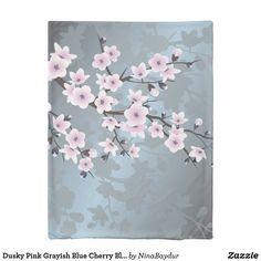 Dusky Pink Grayish Blue Cherry Blossoms Floral Duvet Cover