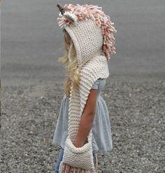gorros con bufanda tejidos de niña