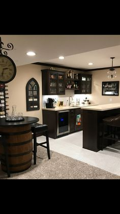 Your basement is a key renovating area when you fancy additional living space. Home Theater Basement, Basement Bar Plans, Basement Living Rooms, Basement Kitchenette, Game Room Basement, Basement Bar Designs, Home Bar Designs, Basement House, Basement Makeover
