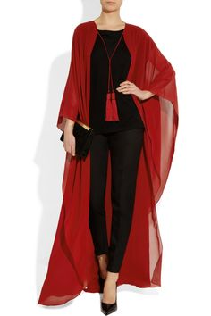 Saint Laurent Silk-chiffon cape - Wear it with a black or yellow bikini and you'll be ready for spring break diva! Look Fashion, Hijab Fashion, Fashion Outfits, Womens Fashion, Fashion Trends, Steampunk Fashion, Gothic Fashion, Mode Abaya, Mode Hijab