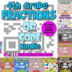 This title is a set of ten QR code task card resources (240 cards in all) that touch on all of the 4th grade CCSS standards on fractions. Each resource contains 24 self-checking task cards and a recording sheet. ($)