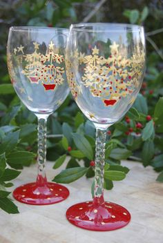 Oh Tannenbaum - Hand painted Christmas tree wine glasses.