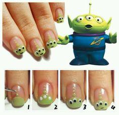 Alien nails from Toy Story! ooooooooooOOOOOOoooooo #nailart #cute #nails #disney