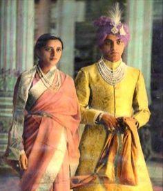 Princess Vijaya Devi of Mysore with groom the rajput Prince Thakur  Kotda-Sangani