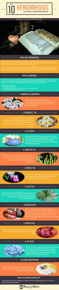 Hemorrhoids remedies or natural treatment? What are hemorrhoids? What are their causes and symptoms? Learn how to get rid of hemorrhoids fast and naturally. Discover top 10 natural home remedies. Learn why yarrow tea, chamomile tea, sitz baths, horsetail tea, comfrey tea, aloe vera, Swedish bitter, onion paste or ice packs are good or not.