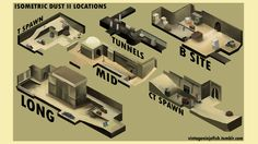Here's a really cool new perspective on DustII (or de_dust2), one of the most popular maps in Counter-Strike: Global Offensive. NinjaFish on Tumblr chopped up and transformed the multiplayer map from 3D to 2.5D and labeled each part their respective names.