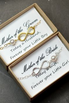 Infinity Bracelets - Mother of the Groom and Mother of the Bride gifts by thefabjewelrywedding
