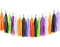 DIY Halloween Tassel Garland Kit Tissue Paper by PaperboyParty