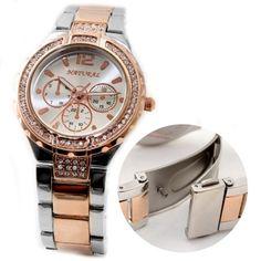 FW836E NATURAL Rose Gold + PNP Band Water Resist White Dial Women Bracelet Watch