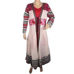 Amazon.com: Designer Long Kurta , Women Kurti Shirt Embroidered Pintucks White Pink Anarkali Style Tunic Top: Clothing $84.99