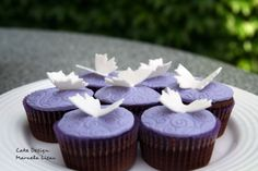 Chocolate cupcakes in lavender colours with butterflies