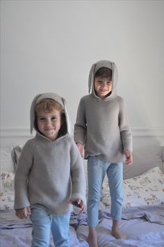 Oeuf bunny hoodie and chino trousers by Le Petit Germain