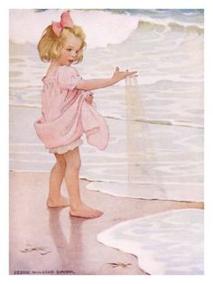 Jessie Wilcox Smith. Reminds me of my niece's first time at the beach when she was little. She'd gather up handfuls of sand, run to the ocean's edge, and happily throw the sand into the water. We joked that she wanted to give the whole beach back to the ocean.