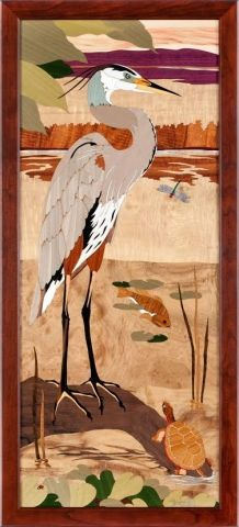 Shipping included HRI - 613 - Heron Marquetry picture by Jeff Nelson, x 227 piece inlay featuring 21 species of wood and Mother of Pearl. Hudson River, Blue Heron, Panel Art, Marquetry, Picture On Wood, Bird Feathers, Wood Art, Arts And Crafts, Gallery