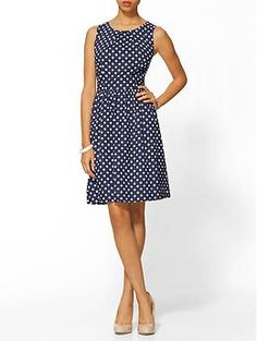 Polka dot dress-- would be great with short, boxy jacket or cardigan in any bright color.  Kinda perfect.