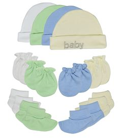 Songbai Baby Gift Set 100% Cotton Caps Socks and Mittens For Newborn Boys Girls (Newborn, 4-set assorted). Material:100% cotton protects skin baby from self scratching and cold or hot weather. Perfect gift set for newborn and contain 4 sets in package. The Mittens designed with gentle elastic at wrist to keep them on baby's tiny hands. I dare to guarantee that actually the goods are pretty much over the figure as show.i am sure you will love it.