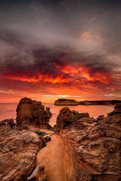 "Bay of Islands Coastal Park near Warrnambool, Australia ""Burning Sky"" by Aaron Toulmin"
