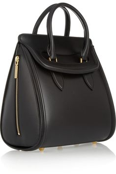 black matte-leather and structured shape of Alexander McQueen's 'The Heroine' tote