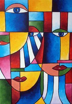 Cubist Paintings, Cubist Art, African Art Paintings, Modern Art Paintings, Art Picasso, Pablo Picasso, Henri Matisse, Portraits Cubistes, Abstract Face Art