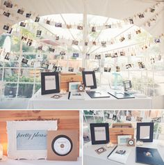 Wedding Soundtracks for guest. Clothesline photo board.