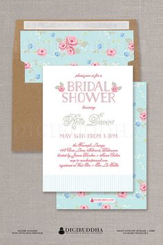 Rose watercolor floral bridal shower invitation blush flowers boho rose bridal shower invitation blush pink flowers and mint blue romantic bohemian shabby chic sweet traditional filmwisefo Choice Image