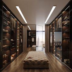 CGI: Manhattan Apartment on Behance Walk In Closet Design, Bedroom Closet Design, Wardrobe Design, Home Room Design, Closet Designs, Dream Home Design, Modern House Design, Home Interior Design, Wardrobe Room