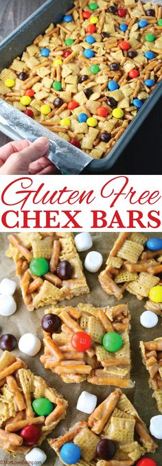 These no-bake Gluten Free Chex Bars are such a treat to snack on! How can you go wrong with pretzels, corn Chex, peanut butter and M&M's! Get the recipe on Gluten Free Deserts, Gluten Free Sweets, Foods With Gluten, Gluten Free Baking, Dairy Free Recipes, Gluten Free Chex Mix, Gluten Free Kids Snacks, Gluten Free Bars, Gluten Free Desserts