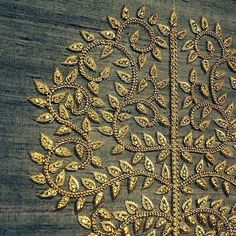 Zardozi Embroidery ~ detail of gold embroidered brand motif of Zardozi Embroidery, Tambour Embroidery, Indian Embroidery, Gold Embroidery, Hand Embroidery Designs, Embroidery Stitches, Embroidery Patterns, Hand Work Embroidery, Hand Logo
