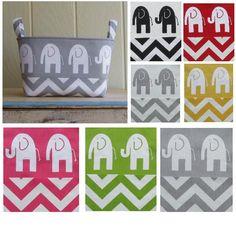 Fabric Storage Bin- Organizer- You Choose The Color- Elephants- Chevron