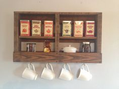 Rustic Reclaimed Pallet Coffee and Tea Rack by DunnRusticDesigns, $80.00 **paint coffee above the cups