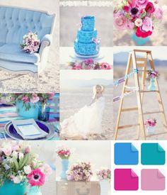 modern cobalt blue and plum wedding ideas for summer or beach weddings 2014