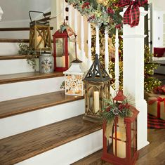 Vintage Decor Rustic Lanterns are a Holiday decor staple! Christmas Stairs, Christmas Entryway, Christmas Lanterns, Christmas Porch, Christmas Tree Toppers, Outdoor Christmas, Rustic Christmas, Christmas Crafts, Lanterns Decor