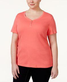 Karen Scott Plus Size Henley T-Shirt, Only at Macy's
