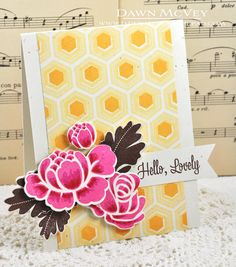 handmade card ... hexagon background stamped in yellow and orange ... lovely flowers ... Paper Trey Ink ...