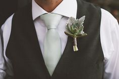 boutonniere (Floral Design: Seed Floral) - English-Inspired Santa Monica Wedding captured by Anna Delores