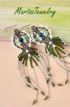 Fringe earrings, extra long, micro macrame jewelry by MartaJewelry