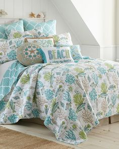 Another great find on Aqua & Green Undersea Calafel Cotton Quilt Set Coastal Quilts, Coastal Bedding, Coastal Bedrooms, Luxurious Bedrooms, Luxury Bedrooms, Modern Bedrooms, Coastal Living, Beach Bedding Sets, Luxury Bedding