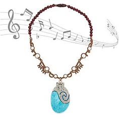 Disney Moana Singing Necklace | Disney Store Beautiful sounds are drifting on the ocean breeze when you press the ''stone'' inside our beaded <i>Disney Moana</i> Singing Necklace. Hear the yearning ballad <i>How Far I'll Go</i>. Newly redesigned for improved sound quality.