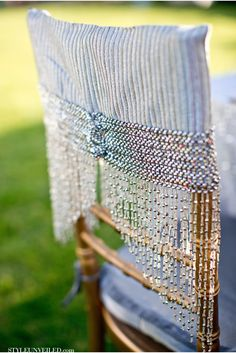 Great Gatsby/1920's Wedding Inspiration -- Chair Covers -repinned by http://dazzlemeelegant.com