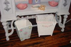Vintage Wallpaper Trash Can Bin Pink Roses on by SimplyCottageChic