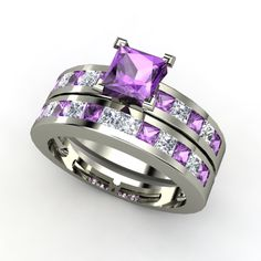 Courtney Ring and matching Band with Amethyst and diamonds