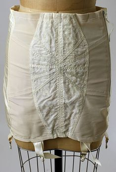Girdle ca. 1950 , nylon, rayon, rubber, cotton, metal, American