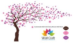 Wall Craft Cherry Blossom Wall Sticker in Dark Brown, Pink, and Lilac.